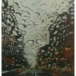 city in rain, 27 x 36 inch, rajinder koul,27x36inch,canvas,paintings,cityscape paintings,landscape paintings,paintings for dining room,paintings for living room,paintings for bedroom,paintings for office,paintings for hotel,acrylic color,GAL01404524532
