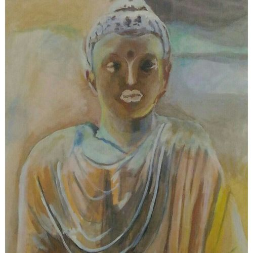 bhuddha with withered lotus, 27 x 36 inch, rajinder koul,27x36inch,canvas,abstract paintings,buddha paintings,conceptual paintings,paintings for dining room,paintings for living room,paintings for bedroom,paintings for office,paintings for hotel,paintings for hospital,paintings for dining room,paintings for living room,paintings for bedroom,paintings for office,paintings for hotel,paintings for hospital,acrylic color,GAL01404524534