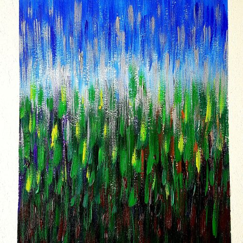 grass and blue sky, 11 x 14 inch, somnath chakraborty,11x14inch,thick paper,paintings,abstract paintings,modern art paintings,nature paintings,paintings for dining room,paintings for living room,paintings for bedroom,paintings for office,paintings for hotel,paintings for kitchen,paintings for school,paintings for hospital,acrylic color,GAL01351024542