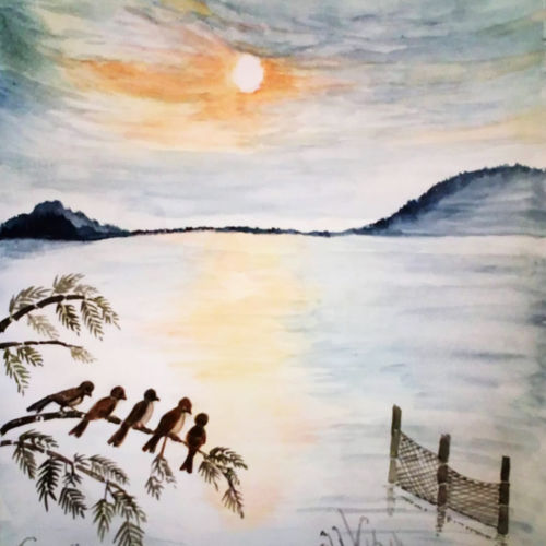 dusk, 9 x 10 inch, sumana das,9x10inch,thick paper,paintings,landscape paintings,nature paintings,expressionism paintings,paintings for dining room,paintings for living room,paintings for bedroom,paintings for hotel,watercolor,GAL01396124543