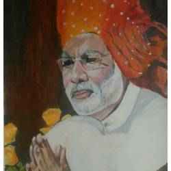 narendra modi, the beloved, 27 x 36 inch, rajinder koul,27x36inch,canvas,paintings,portrait paintings,paintings for dining room,paintings for living room,paintings for bedroom,paintings for office,paintings for kids room,paintings for hotel,paintings for school,paintings for hospital,acrylic color,GAL01404524544