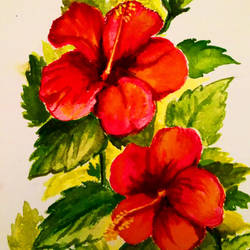 red blossoms, 5 x 7 inch, sumana das,5x7inch,thick paper,paintings,flower paintings,nature paintings,photorealism paintings,realistic paintings,paintings for living room,paintings for office,paintings for kids room,paintings for hotel,watercolor,GAL01396124546
