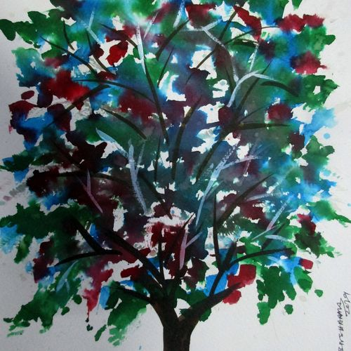 tree of duars-10, 8 x 12 inch, tamal sen sharma,8x12inch,brustro watercolor paper,paintings,nature paintings,paintings for dining room,paintings for living room,paintings for bedroom,paintings for office,paintings for bathroom,paintings for kids room,paintings for hotel,paintings for kitchen,paintings for hospital,mixed media,GAL01201324557