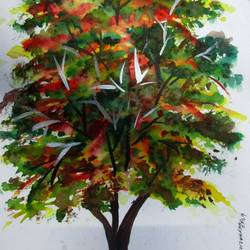 tree of duars-18, 8 x 12 inch, tamal sen sharma,8x12inch,brustro watercolor paper,paintings,nature paintings,paintings for dining room,paintings for living room,paintings for bedroom,paintings for office,paintings for bathroom,paintings for kids room,paintings for hotel,paintings for kitchen,paintings for school,paintings for hospital,mixed media,GAL01201324568
