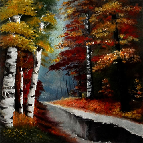 autumn forest , 22 x 32 inch, ratheesan veniyil,22x32inch,canvas,paintings,paintings for dining room,paintings for living room,paintings for bedroom,paintings for hotel,paintings for hospital,oil color,GAL0930924590