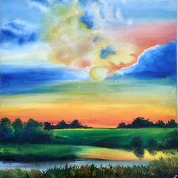 the clumsy clouds, 24 x 35 inch, srishti sharma,24x35inch,canvas,paintings,nature paintings,acrylic color,GAL0951424598,,trees,water,beautiful,sunset,clouds
