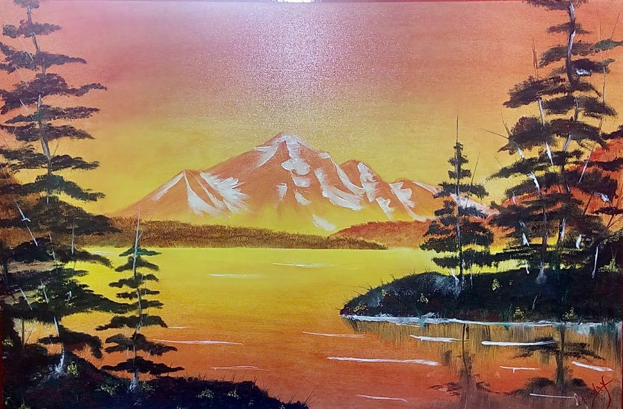 nature love, 36 x 24 inch, hriday  das,nature paintings,paintings for living room,landscape paintings,paintings for office,canvas,oil,36x24inch,GAL09832462Nature,environment,Beauty,scenery,greenery,trees,water,beautiful,leaves,mountain