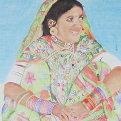 women from rajasthan, 37 x 26 inch, neha  gangal,37x26inch,canson paper,portrait paintings,paintings for hotel,paintings for hotel,pencil color,GAL01408624629