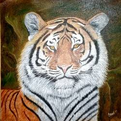 tiger painting, 15 x 15 inch, anandi m,15x15inch,canvas,paintings,wildlife paintings,nature paintings,expressionism paintings,photorealism paintings,animal paintings,paintings for dining room,paintings for living room,paintings for bedroom,paintings for office,paintings for kids room,paintings for hotel,paintings for school,oil color,GAL0307724632