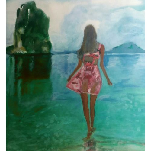 mid day beach walk, 27 x 36 inch, rajinder koul,27x36inch,canvas,paintings,abstract paintings,figurative paintings,landscape paintings,modern art paintings,nature paintings,photorealism,portraiture,realistic paintings,paintings for dining room,paintings for living room,paintings for bedroom,paintings for bathroom,paintings for hotel,paintings for kitchen,paintings for hospital,acrylic color,GAL01404524638