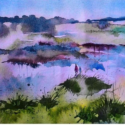 of a pond, 11 x 10 inch, anita kumari,abstract paintings,paintings for living room,renaissance watercolor paper,acrylic color,11x10inch,GAL08482464