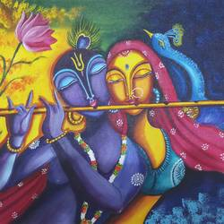 radha krishna colorful relation, 18 x 20 inch, sandhya kumari,18x20inch,canvas,paintings,wildlife paintings,flower paintings,religious paintings,radha krishna paintings,love paintings,paintings for dining room,paintings for living room,paintings for bedroom,paintings for office,paintings for kids room,paintings for hotel,paintings for kitchen,paintings for school,paintings for hospital,acrylic color,GAL0365924650,krishna,Lord krishna,krushna,radha krushna,flute,peacock feather,melody,peace,religious,god,love,romance