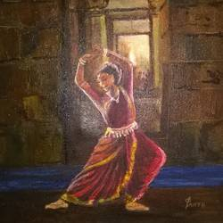 odissi dancer, 12 x 12 inch, prabha  panth,12x12inch,canvas,paintings,figurative paintings,acrylic color,GAL0390724655