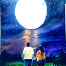 love in moon night, 20 x 28 inch, rajendra  gupta,20x28inch,canvas,paintings,nature paintings,love paintings,paintings for dining room,paintings for living room,paintings for bedroom,paintings for hotel,acrylic color,GAL01284624662