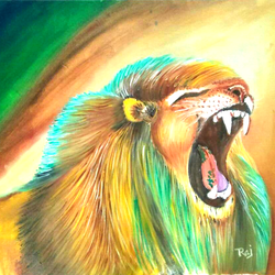 gujrat lion, 20 x 28 inch, rajendra  gupta,20x28inch,canvas,paintings,wildlife paintings,paintings for living room,paintings for hotel,paintings for school,oil color,GAL01284624663