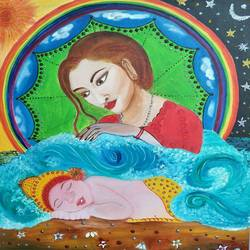 five elements of mother nature, 20 x 24 inch, priyanka singh,20x24inch,canvas,paintings,nature paintings,oil color,GAL01410824667,mother,baby,care,mother nature