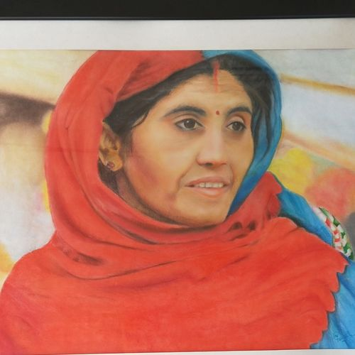 rajasthan series women 1, 37 x 26 inch, neha  gangal,37x26inch,ivory sheet,portrait paintings,paintings for living room,paintings for living room,pastel color,GAL01408624680