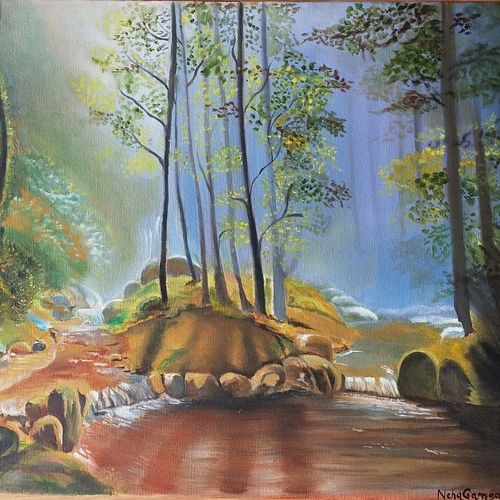 nature series forest 1, 20 x 16 inch, neha  gangal,20x16inch,canvas,paintings,nature paintings,paintings for dining room,paintings for living room,paintings for bedroom,paintings for office,paintings for hotel,paintings for living room,oil color,GAL01408624683
