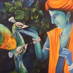 krishna with peacocks, 36 x 30 inch, shweta jaju,36x30inch,canvas,radha krishna paintings,paintings for living room,paintings for office,paintings for hotel,paintings for school,paintings for living room,paintings for office,paintings for hotel,paintings for school,acrylic color,GAL01036024694