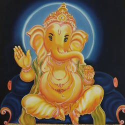 ganesh, 24 x 30 inch, kiran patel,24x30inch,canvas,religious paintings,acrylic color,GAL01414624700
