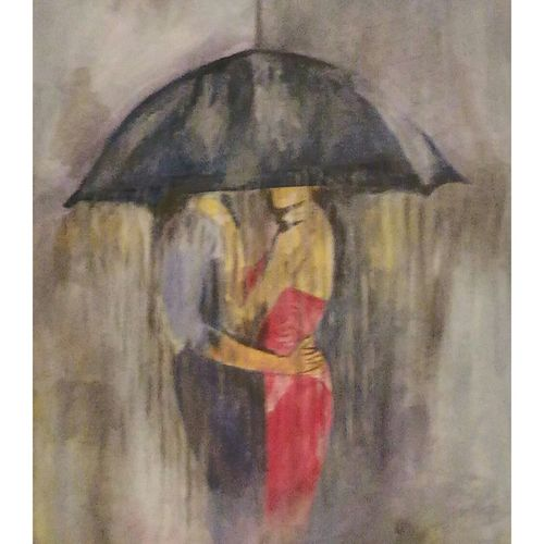 rain lovers, 27 x 36 inch, rajinder koul,27x36inch,canvas,paintings,abstract paintings,figurative paintings,modern art paintings,still life paintings,portrait paintings,nature paintings,impressionist paintings,love paintings,paintings for dining room,paintings for living room,paintings for bedroom,paintings for bathroom,paintings for hotel,paintings for kitchen,acrylic color,GAL01404524705