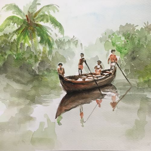 misty morning sail, 12 x 9 inch, nishad kariyadan,12x9inch,brustro watercolor paper,paintings,landscape paintings,nature paintings,paintings for dining room,paintings for living room,paintings for bedroom,paintings for office,paintings for hotel,paintings for hospital,watercolor,GAL01401124717