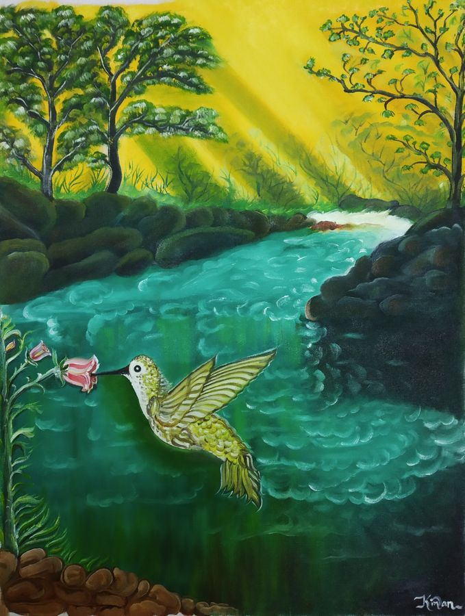 bird in nature, 18 x 24 inch, kiran patel,18x24inch,canvas,paintings,wildlife paintings,paintings for living room,oil color,GAL01414624718