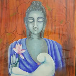 buddha in peace , 12 x 15 inch, satinder  kaur,12x15inch,cartridge paper,buddha paintings,poster color,GAL01414024758