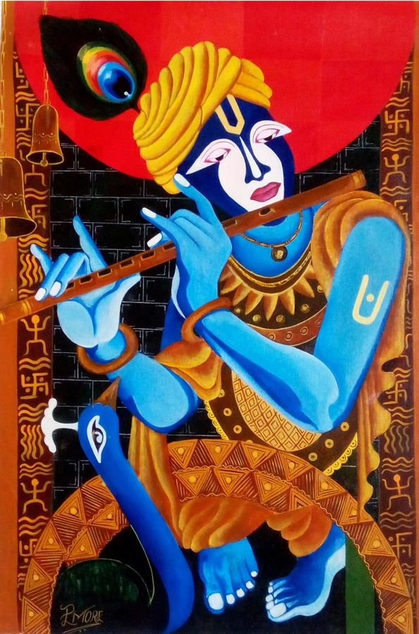 krishna, 21 x 31 inch, paresh more,religious paintings,paintings for living room,paintings for office,radha krishna paintings,canvas,acrylic color,21x31inch,GAL09972476