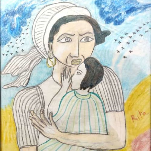 mother protecting her child, 18 x 24 inch, rita dash,18x24inch,canvas,paintings,conceptual paintings,paintings for dining room,paintings for living room,paintings for office,paintings for hotel,paintings for school,acrylic color,GAL01382124763