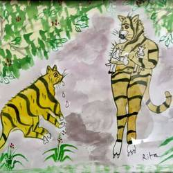 tigress rearing kids, 13 x 18 inch, rita dash,13x18inch,canvas,paintings,wildlife paintings,paintings for living room,paintings for hotel,paintings for school,watercolor,paper,GAL01382124764