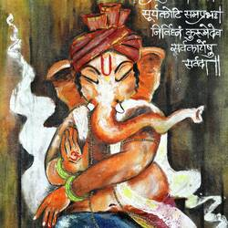 vighneharta ganesha, 18 x 36 inch, manisha adhikari kiroula,18x36inch,canvas,paintings,figurative paintings,modern art paintings,religious paintings,ganesha paintings,paintings for living room,paintings for office,paintings for kids room,paintings for living room,paintings for office,paintings for kids room,acrylic color,GAL01416824768,ganpati bappa morya,ganesh chaturthi,ganesh murti,elephant god,religious,lord ganesh,ganesha,om,hindu god,shiv parvati, putra,bhakti,blessings,aashirwad,pooja,puja,aarti,ekdant,vakratunda,lambodara,bhalchandra,gajanan,vinayak,prathamesh,vignesh,heramba,siddhivinayak,mahaganpati,omkar,mushak,mouse,ladoo,modak