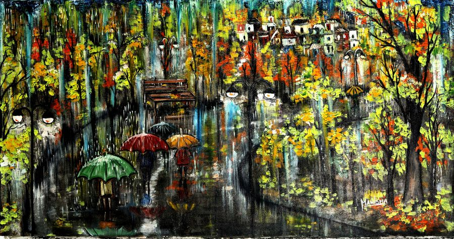 rainy street and a lonely bench, 35 x 18 inch, manisha adhikari kiroula,35x18inch,canvas,paintings,abstract paintings,modern art paintings,paintings for dining room,paintings for living room,paintings for office,paintings for kids room,paintings for hotel,paintings for dining room,paintings for living room,paintings for office,paintings for kids room,paintings for hotel,acrylic color,mixed media,oil color,GAL01416824769