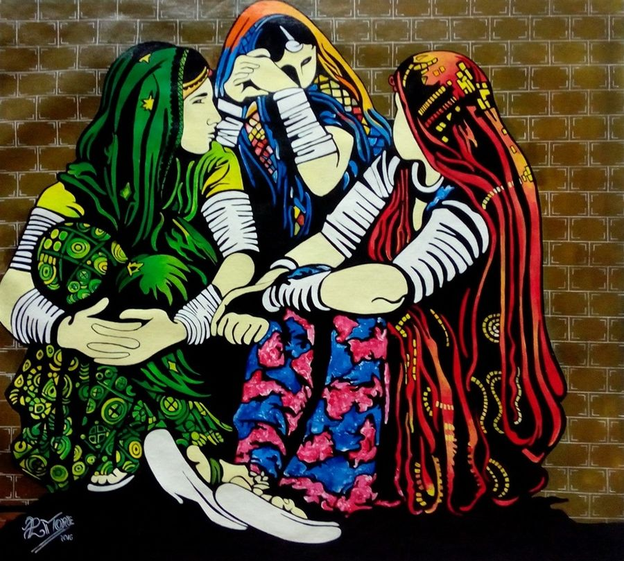 banjare 3, 32 x 29 inch, paresh more,figurative paintings,paintings for living room,canvas,acrylic color,32x29inch,GAL09972477