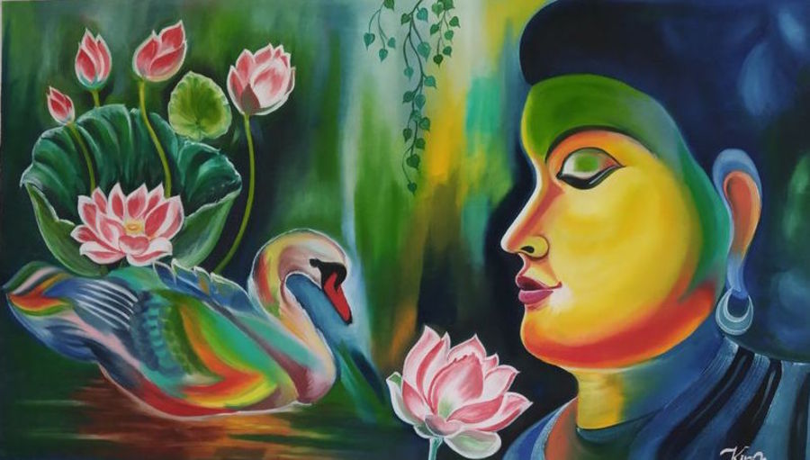 buddha, 26 x 18 inch, kiran patel,26x18inch,canvas,paintings,buddha paintings,paintings for living room,oil color,GAL01414624773