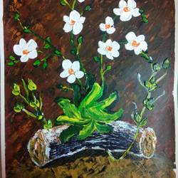 flowers in deep forest, 12 x 16 inch, vimal drall,12x16inch,canvas,nature paintings,acrylic color,GAL01417724779