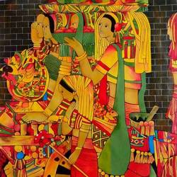 banjare 1, 30 x 38 inch, paresh more,figurative paintings,paintings for living room,canvas,acrylic color,30x38inch,GAL09972478