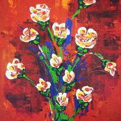 white roses, 12 x 16 inch, vimal drall,12x16inch,canvas,paintings,abstract paintings,nature paintings,acrylic color,GAL01417724781