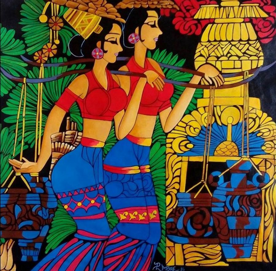 banjare 2, 32 x 33 inch, paresh more,figurative paintings,paintings for living room,canvas,acrylic color,32x33inch,GAL09972479