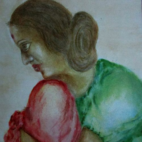 thinking, 8 x 12 inch, tamal sen sharma,8x12inch,cartridge paper,paintings,figurative paintings,portrait paintings,miniature painting.,paintings for dining room,paintings for living room,paintings for bedroom,paintings for office,paintings for bathroom,paintings for kids room,paintings for hotel,paintings for kitchen,paintings for school,paintings for hospital,watercolor,GAL01201324790