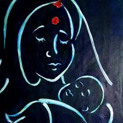 mother's love, 7 x 12 inch, tamal sen sharma,7x12inch,thick paper,paintings,figurative paintings,portrait paintings,love paintings,miniature painting.,paintings for dining room,paintings for living room,paintings for bedroom,paintings for office,paintings for bathroom,paintings for kids room,paintings for hotel,paintings for kitchen,paintings for school,paintings for hospital,acrylic color,GAL01201324796