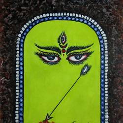 devi durga-2, 8 x 12 inch, tamal sen sharma,8x12inch,thick paper,paintings,abstract paintings,modern art paintings,religious paintings,portrait paintings,abstract expressionism paintings,miniature painting.,paintings for dining room,paintings for living room,paintings for bedroom,paintings for office,paintings for bathroom,paintings for kids room,paintings for hotel,paintings for kitchen,paintings for school,paintings for hospital,mixed media,GAL01201324799