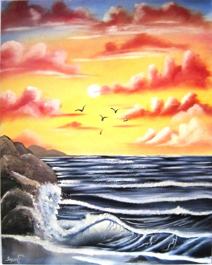 seascape , 16 x 20 inch, aparna warade,landscape paintings,paintings for office,water fountain paintings,canvas,oil,16x20inch,GAL089248