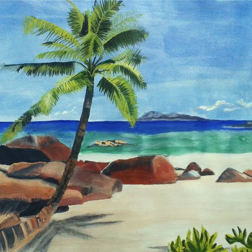 scenary, 13 x 10 inch, puja nag,nature paintings,paintings for living room,landscape paintings,paper,acrylic color,13x10inch,GAL09192480Nature,environment,Beauty,scenery,greenery,,trees,water,beautiful,leaves,coconut tree,beach