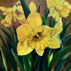 daffodils , 8 x 10 inch, jenifer  edwin,8x10inch,canvas,flower paintings,oil color,GAL01418224801