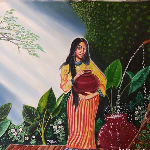 women with pot , 30 x 24 inch, kiran patel,30x24inch,canvas,paintings,nature paintings,paintings for living room,oil color,GAL01414624802