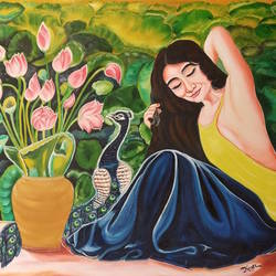 women with lotus, 30 x 24 inch, kiran patel,30x24inch,canvas,photorealism paintings,paintings for living room,paintings for living room,oil color,GAL01414624803