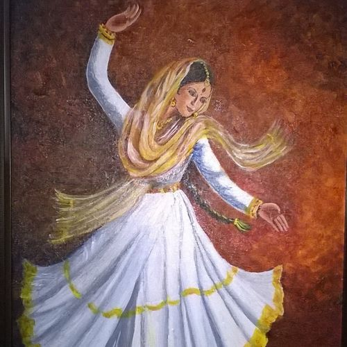 khatak dancer, 18 x 24 inch, prabha  panth,18x24inch,canvas board,paintings,figurative paintings,paintings for living room,acrylic color,GAL0390724804