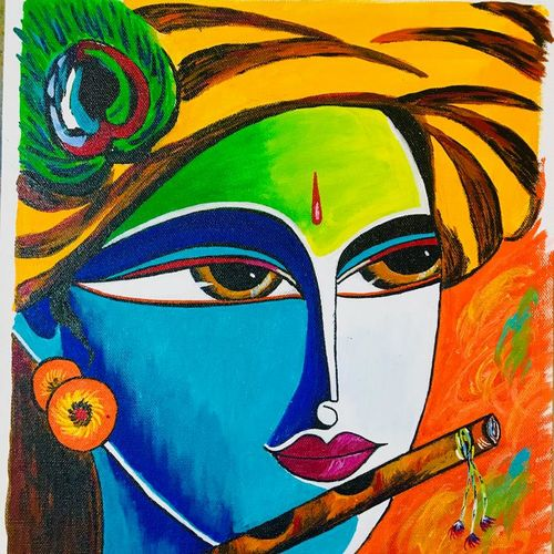 colourful krishna, 16 x 12 inch, vimal drall,16x12inch,canvas,paintings,radha krishna paintings,paintings for living room,acrylic color,GAL01417724808