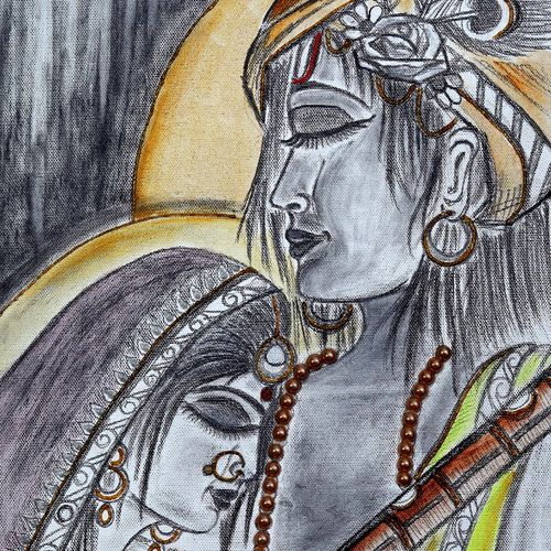 divine love, 12 x 24 inch, manisha adhikari kiroula,12x24inch,canvas,paintings,radha krishna paintings,paintings for living room,paintings for office,paintings for kids room,paintings for hotel,paintings for hospital,acrylic color,charcoal,mixed media,graphite pencil,GAL01416824810